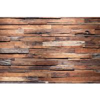 Karo-art Fotobehang - Grof houten muur