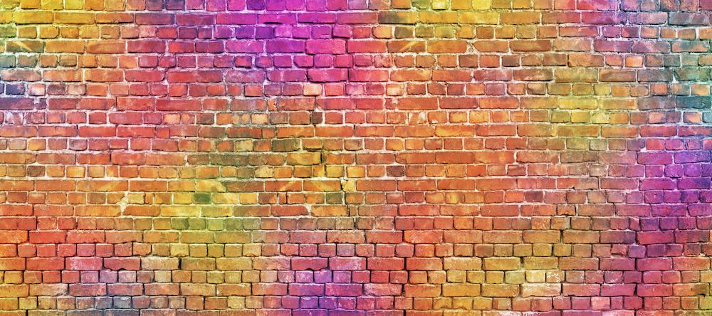 Karo-art Fotobehang - kleurrijke stenen muur