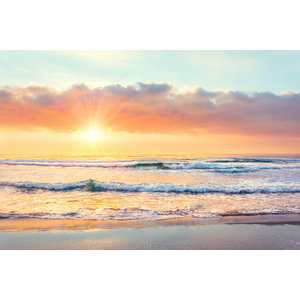 Karo-art Fotobehang - Zonsondergang op het strand
