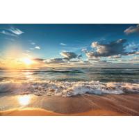 Karo-art Fotobehang - Zonsondergang op het strand II