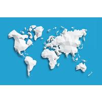 Karo-art Schilderij - Geometrische wereldkaart, Blauw, 2 maten, Premium print