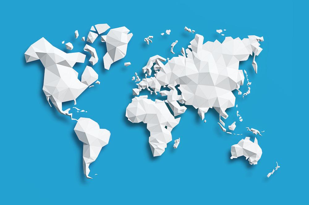 Schilderij - Geometrische wereldkaart, Blauw, 2 maten, Premium print