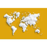 Karo-art Schilderij - Geometrische wereldkaart, Geel, 2 maten, Premium print