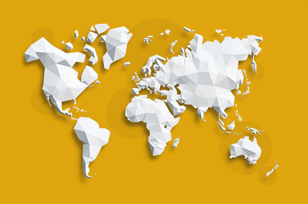Schilderij - Geometrische wereldkaart, Geel, 2 maten, Premium print