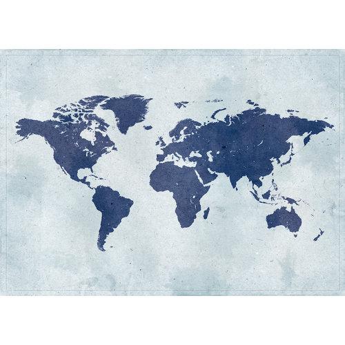 Karo-art Schilderij - Blauwe wereld, Wereldkaart, Blauw, 2 maten, Premium print