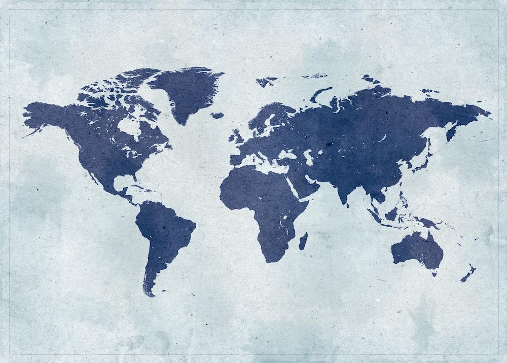Schilderij - Blauwe wereld, Wereldkaart, Blauw, 2 maten, Premium print