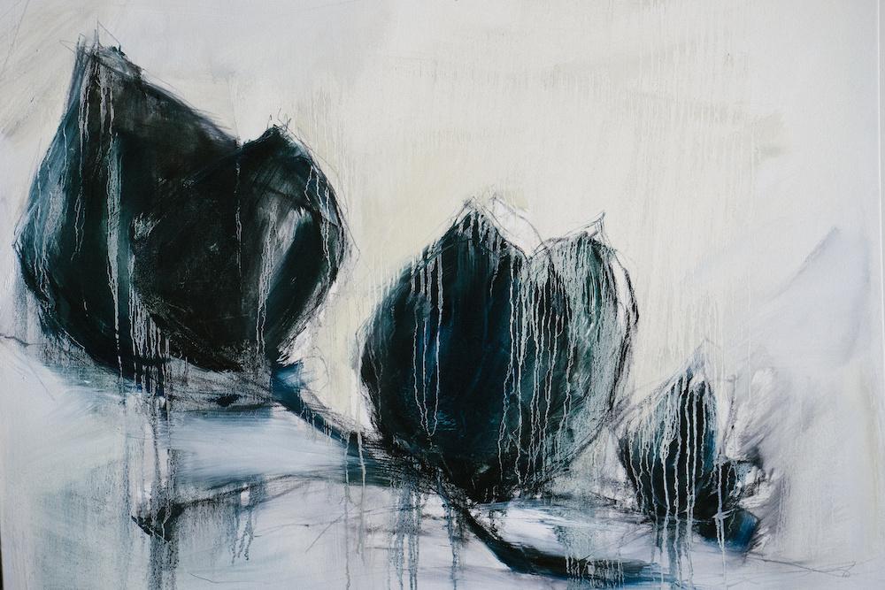 Schilderij - Blauwe kersenbloesem, print op canvas, 2 maten, Premium print