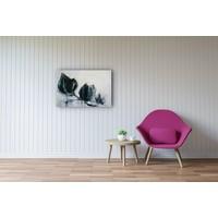 Karo-art Schilderij - Blauwe kersenbloesem, print op canvas, 2 maten, Premium print