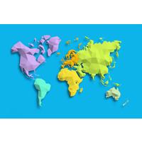 Karo-art Schilderij - Geometrische wereldkaart, Gekleurde continenten, 2 maten, Premium print