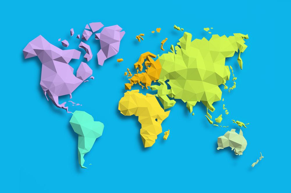 Schilderij - Geometrische wereldkaart, Gekleurde continenten, 2 maten, Premium print