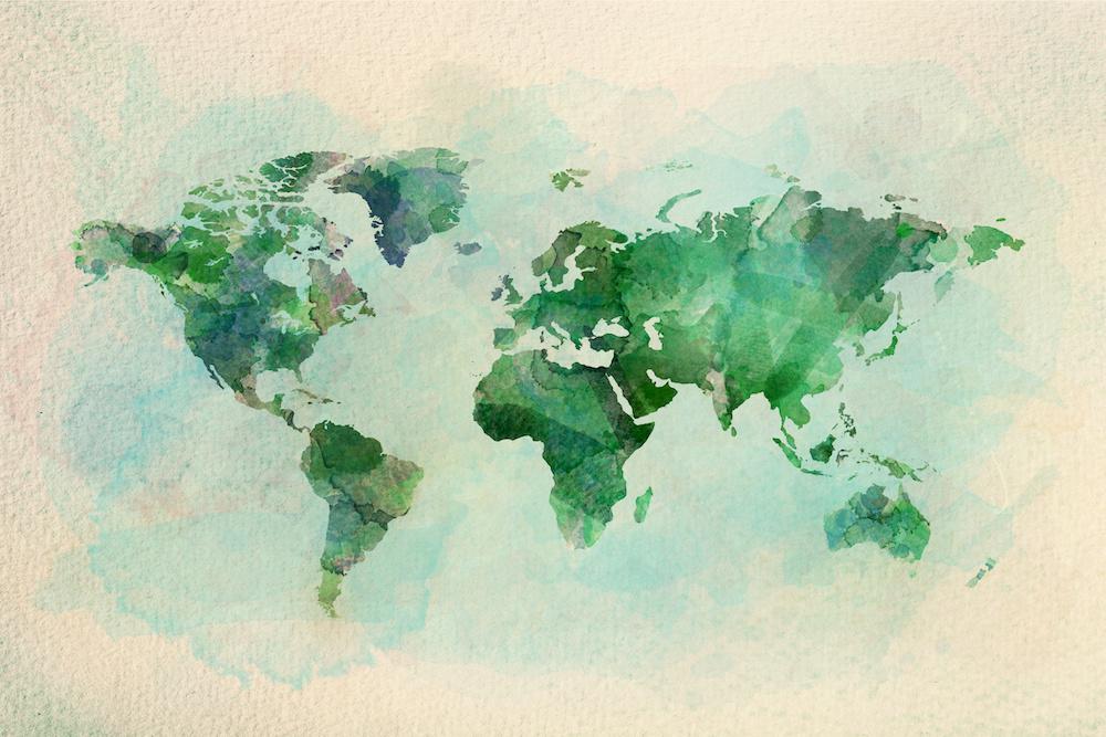 Schilderij - Groene wereldkaart, 2 maten, Premium print