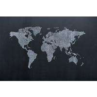 Karo-art Schilderij - Getekende wereldkaart, 2 maten, Premium print