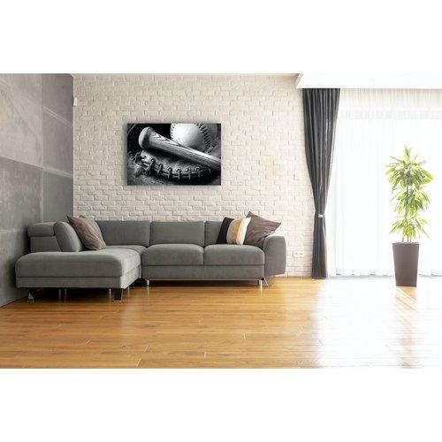 Karo-art Schilderij - Honkbal, zwart/wit, 2 maten, Premium print