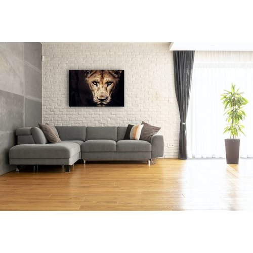 Karo-art Schilderij - Leeuwin, Zwart/Bruin,  2 maten, Premium print