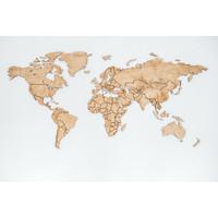 Karo-art Schilderij - Houten wereldkaart, Bruin,  2 maten, Premium print