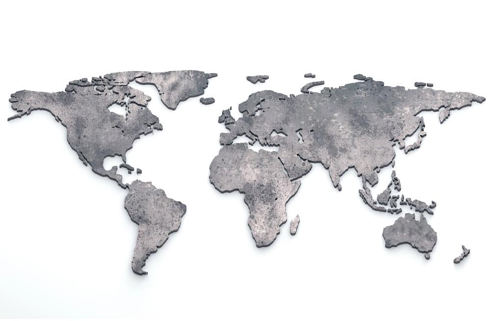 Schilderij - Metalen wereldkaart, Grijs, 2 maten, Premium print