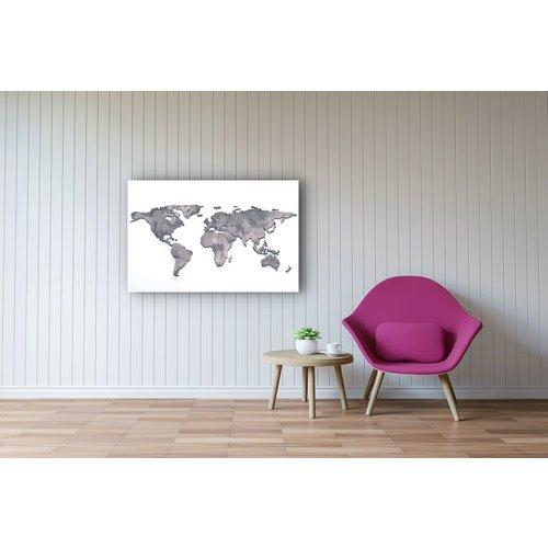 Karo-art Schilderij - Metalen wereldkaart, Grijs,  2 maten, Premium print