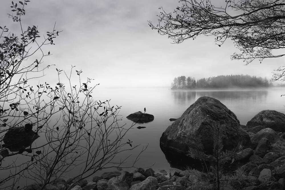 Schilderij - Meer, steen en bos, Zwart-Wit, 2 maten, Premium print - Copy