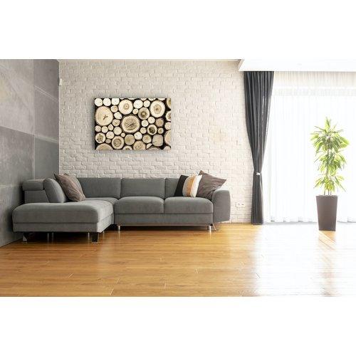 Karo-art Schilderij - Hout stapel, bruin,  2 maten, Premium print