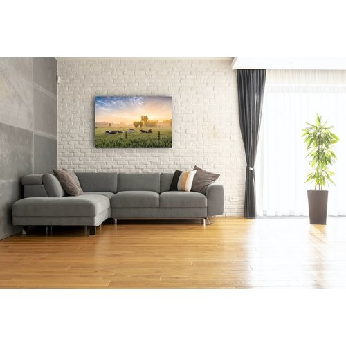Karo-art Schilderij - Koeien bij zonsopgang,  2 maten, Premium print