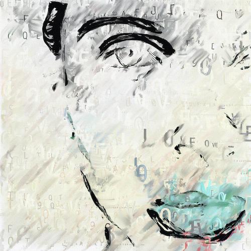 Schilderij - Portret van een vrouw, abstract, premium print, 2 maten