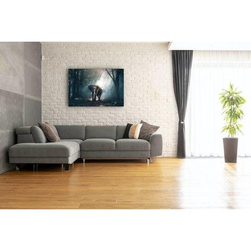 Karo-art Schilderij - Olifant in bos,  2 maten, Premium print