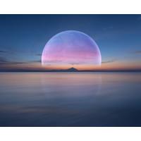 Karo-art Schilderij - Volle maan boven water ,  2 maten, Premium print