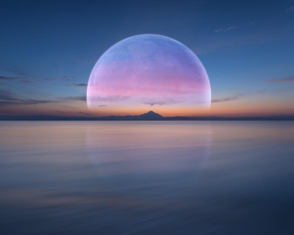 Schilderij - Volle maan boven water , 2 maten, Premium print