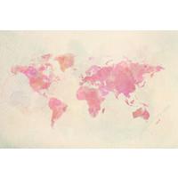 Karo-art Schilderij - Roze wereld in Aquarel,  2 maten, Premium print