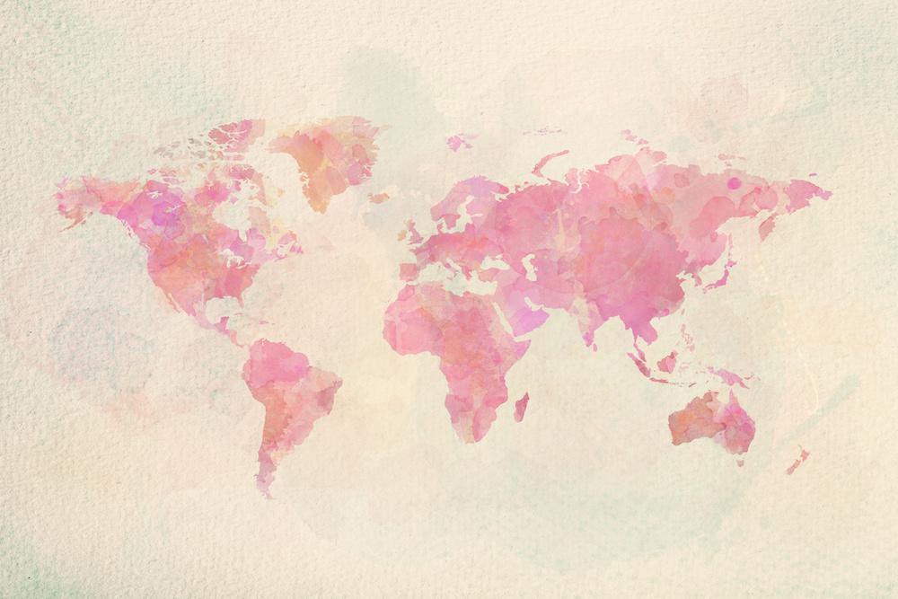 Schilderij - Roze wereld in Aquarel, 2 maten, Premium print