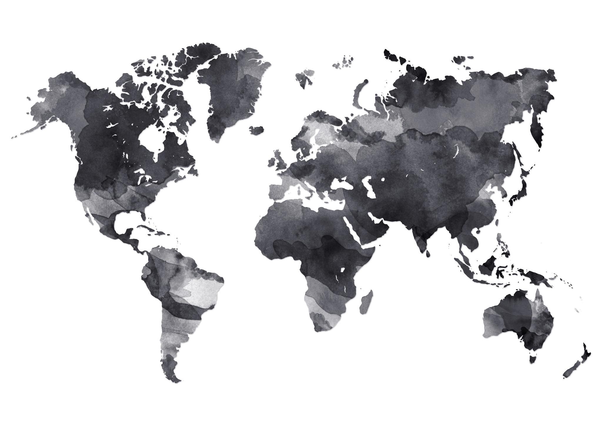 Schilderij - Wereld in inkt, 2 maten, Premium print