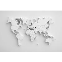 Karo-art Schilderij - Witte wereldkaart,  2 maten, Premium print