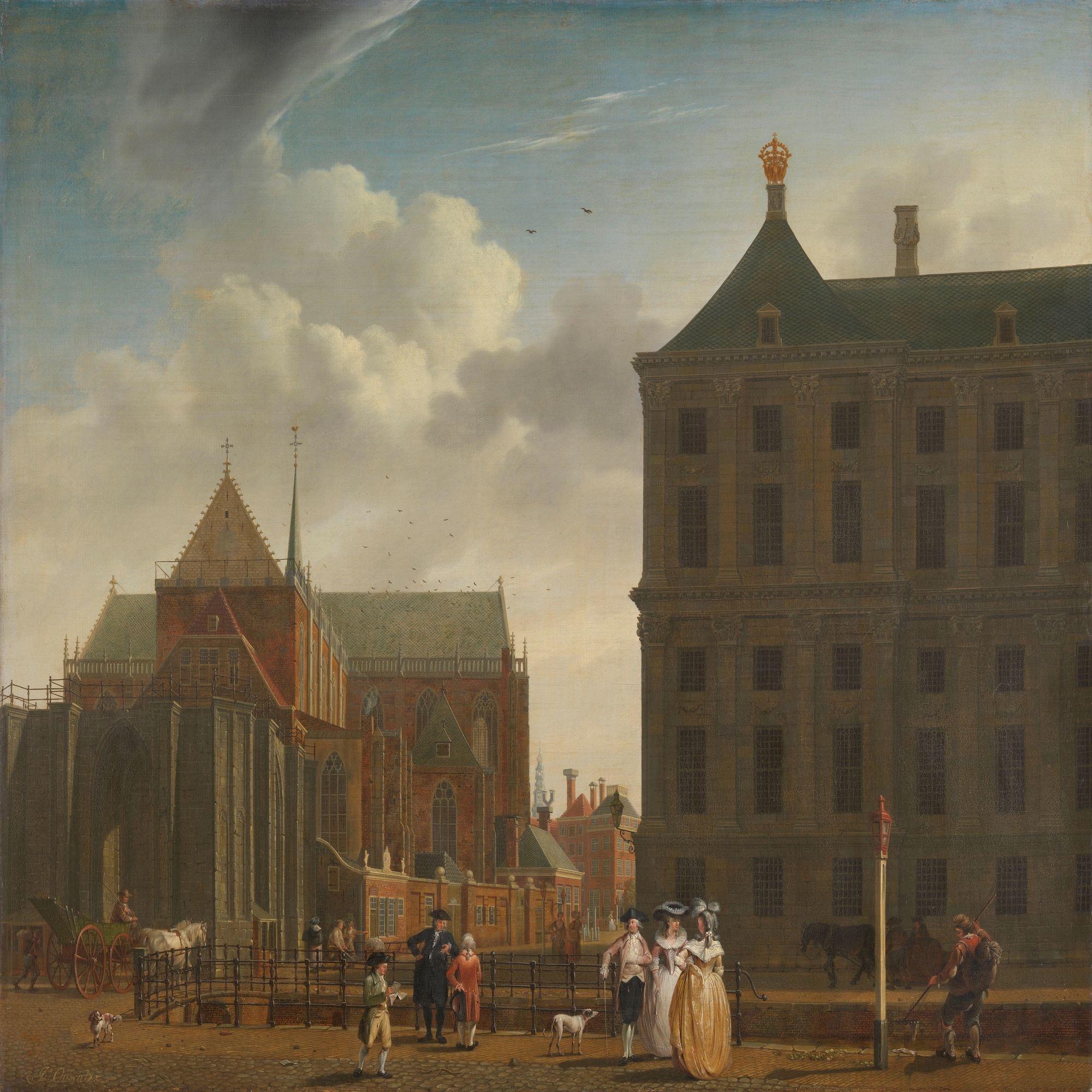 Isaac Ouwater - De Nieuwe Kerk en het stadhuis op de Dam in Amsterdam , 100x100cm