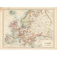 Karo-art Schilderij - Ouderwetse kaart van Europa,  2 maten, Premium print
