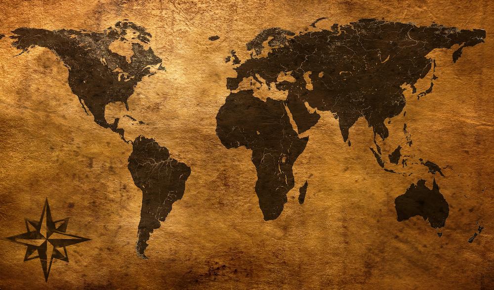 Schilderij - Oude wereldkaart, 120x70, Premium print