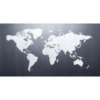 Karo-art Schilderij - Wereldkaart op schoolbord,  120x60, Premium print
