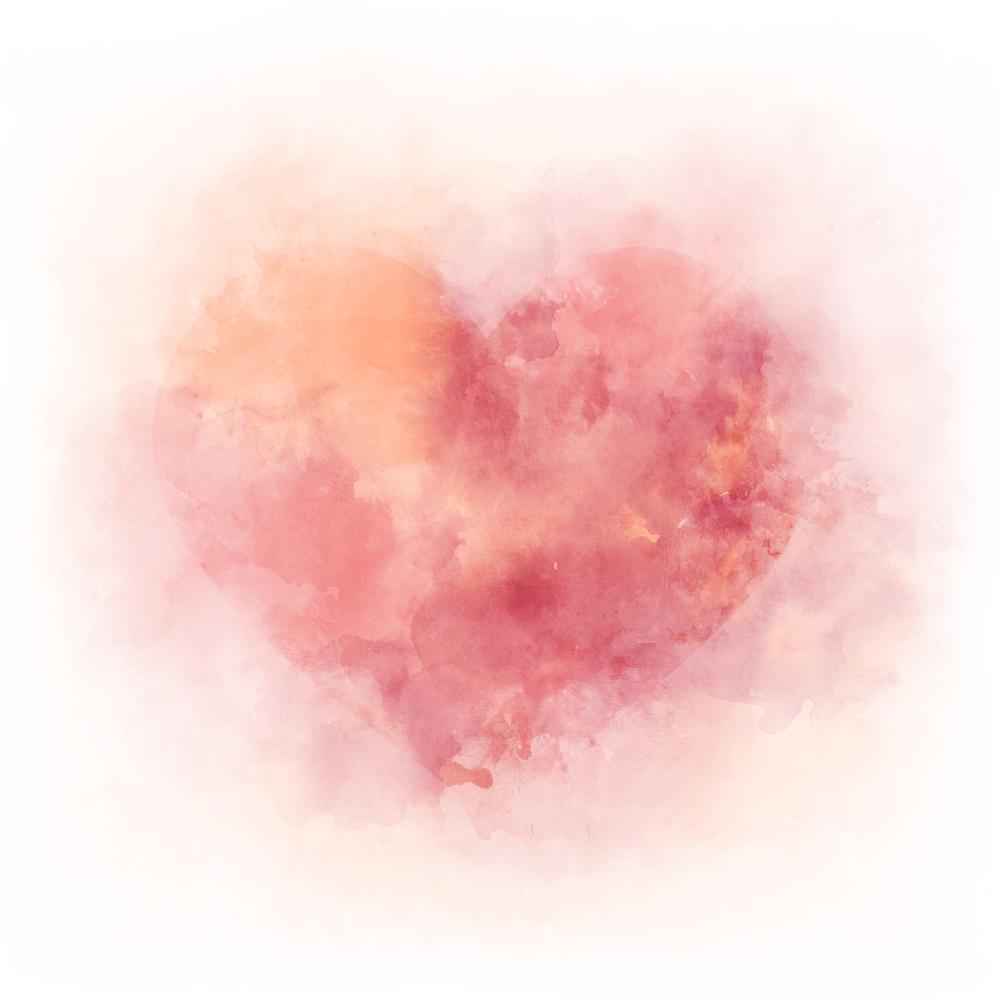 Schilderij - Aquarel hart , 3 Maten, Premium print