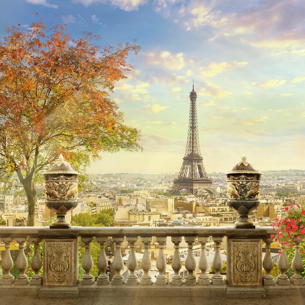 Schilderij - Eiffeltoren Parijs , 3 Maten, Premium print