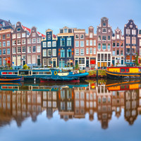 Karo-art Schilderij - Amsterdamse gracht  , 3 Maten, Premium print