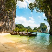 Karo-art Schilderij - Boten Thailand  , 3 Maten, Premium print