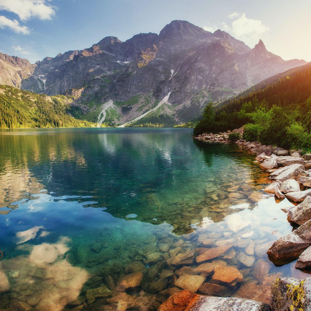 Schilderij - Uitzicht op bergen, natuur, premium print, 3 maten