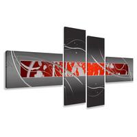 Schilderij - Abstract in het rood, 4luik, 195x80cm, wanddecoratie