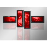 Schilderij - Abstract rood in het kader, 4luik, 195x80cm, wanddecoratie