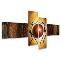 Schilderij - Abstract dans rond de aarde, 4luik, 195x80cm, wanddecoratie