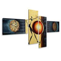Schilderij - Abstracte dans rond de aarde, 4luik, 195x80cm, wanddecoratie