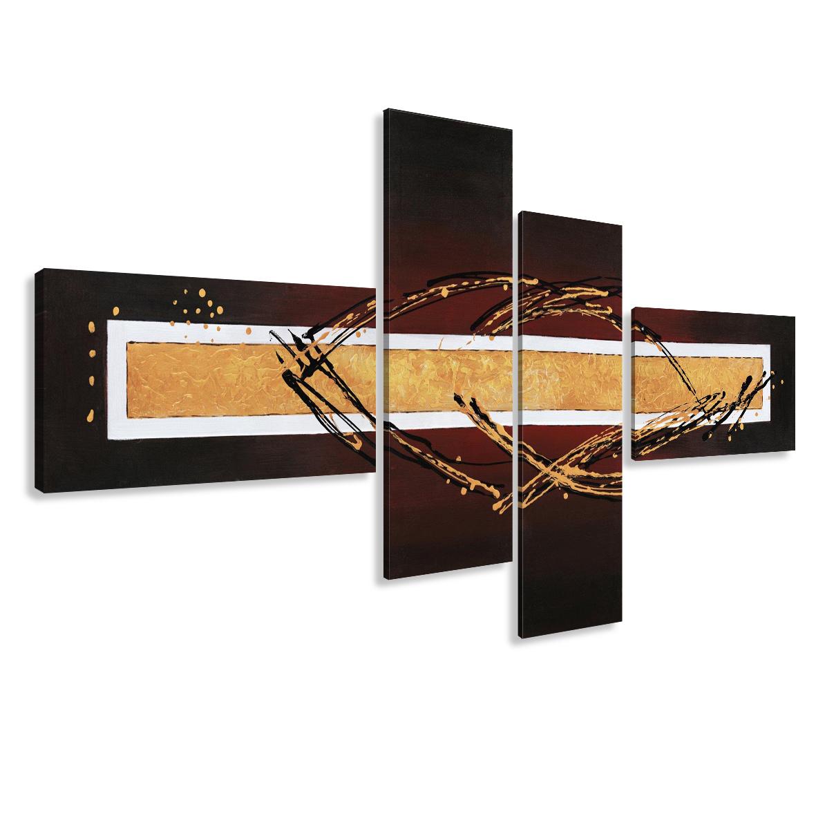 Schilderij - Abstract met krullen, 4luik, 195x80cm, wanddecoratie