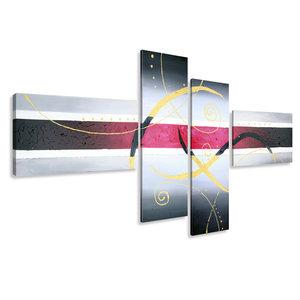 Schilderij - Roze in het kader, abstract, 4luik, 195x80cm, wanddecoratie