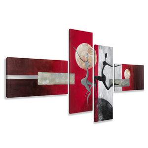 Schilderij - Dans in het heelal, abstract, 4luik, 195x80cm, wanddecoratie