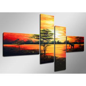 Schilderij - Handgeschilderd -  Zonsondergang in Afrika, Olifant,  4luik, 160x80cm, (wanddecoratie)