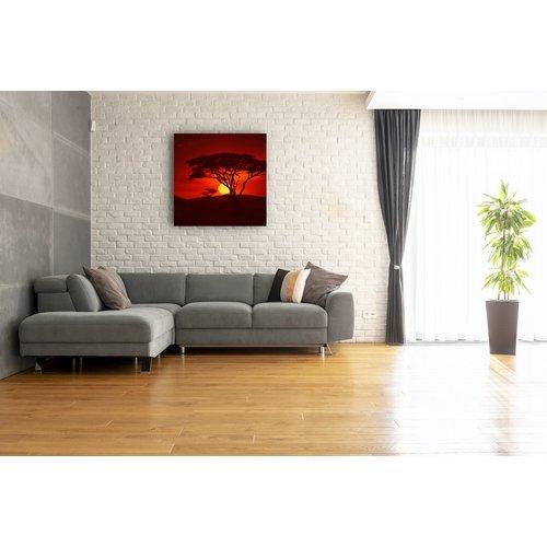 Karo-art Schilderij - Zonsondergang in Afrika, premium print, 3 maten